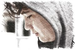 Sad troubled school boy teenager wearing a hoodie - drawing impression. Stock illustration stock illustration
