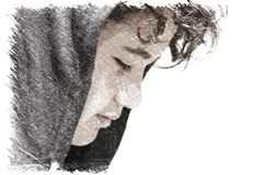 Sad troubled 13 years old school boy teenager wearing a hoodie posing outdoor - drawing. Impression stock images