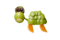 Sad turtle made of apple Stock Images