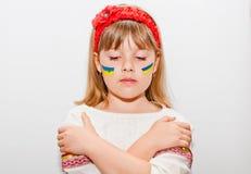 Sad ukrainian girl. Sad teen ukrainian girl with hands Royalty Free Stock Photos