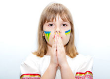 Sad ukrainian girl. Sad teen ukrainian girl with hands near face Stock Photography