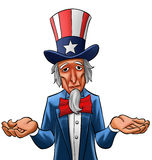 Sad uncle Sam. Uncle sam painted, he looks not so happy Royalty Free Stock Photos