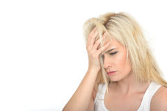 Sad Unhappy Anxious Young Woman Looking Stressed and Tired Royalty Free Stock Photo