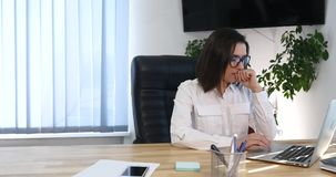 Sad, unhappy businesswoman getting rebuke from her boss.  stock footage