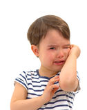 Sad unhappy crying cute little young toddler girl wiping tears. Isolated royalty free stock photography