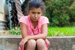 Sad unhappy gypsy child Royalty Free Stock Images