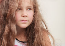 Sad unhappy little girl kid portrait. Royalty Free Stock Images