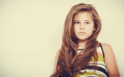 Sad unhappy little girl kid portrait. Royalty Free Stock Image