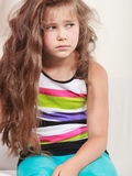 Sad unhappy little girl kid portrait. stock image