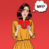 Sad Unhappy Pop Art Woman Tearing Paper Red Heart. Vector illustration Royalty Free Stock Photography