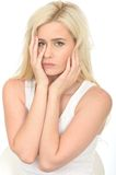 Sad Unhappy Thoughtful Young Woman Looking Anxious and Depressed Stock Photos