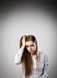 Sad and Unhappy woman in white Royalty Free Stock Photo