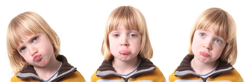 Sad upset child isolated Stock Images