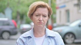 Sad Upset Old Woman Standing Outdoor stock video