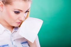 Sad upset young woman is crying Stock Photography