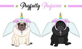 Sad vector pug puppy dog sitting down, wearing pink bonnet with unicorn horn with rainbow colors and angel wings. Cute sad vector pug puppy dog sitting down royalty free illustration