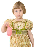 Sad very little girl. With blow off pink balloon Stock Images