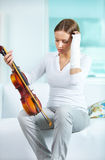 Sad violinist Stock Photography