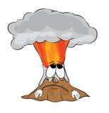 Sad volcano cartoon Royalty Free Stock Photos