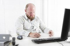 Sad man at the Office royalty free stock images