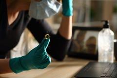 Free Sad Wife Holding Wedding Ring On Coronavirus Confinement Stock Images - 181533024