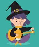 Sad Witch Tuning Guitar Stock Photos