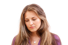 Sad woman. Photo of a beautiful young sad woman stock photography