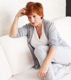 Sad woman. Sad adult woman at home. Grief female. Depression, stress Royalty Free Stock Photo