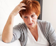 Sad woman. Sad adult woman at home. Grief female. Depression, stress Royalty Free Stock Photography
