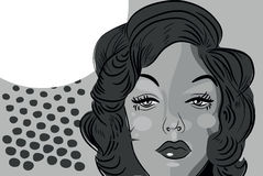 Woman beaitiful face comic tattoo style retro blond Royalty Free Stock Images