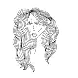 Sad woman with beautiful hair. Digital sketch grafic black and white style. Vector illustration. Stock Photo