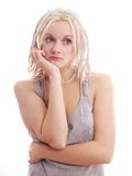 Sad woman with blonde dreadlocks Royalty Free Stock Images