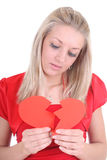 Sad woman with broken heart Stock Photography