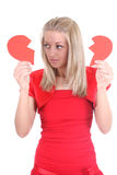 Sad woman with broken heart Royalty Free Stock Photography