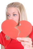 Sad woman with broken heart Royalty Free Stock Photos