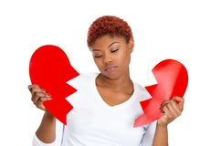 Sad woman with broken heart Stock Image
