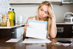 Sad woman calculating family budget Stock Photography