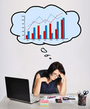 Sad woman and chart Stock Images