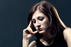 Sad woman closeup portrait Royalty Free Stock Image