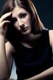 Sad woman closeup portrait Stock Photo