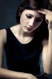 Sad woman closeup portrait Stock Photos