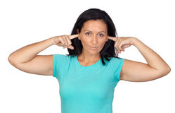 Sad woman covering her ears royalty free stock photo