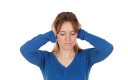Sad woman covering her ears Royalty Free Stock Photos