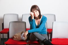 Sad woman crying with hand on cheek Royalty Free Stock Photography
