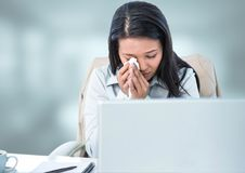 Sad woman crying on laptop with bright background Stock Images