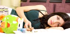 Sad woman depressed about recession and economical crisis Royalty Free Stock Images
