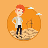 Sad woman in the desert vector illustration. Stock Photography
