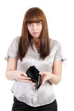 Sad woman with empty wallet Stock Images