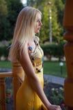 Sad woman in evening dress Royalty Free Stock Image