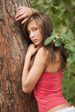 Sad woman in forest Stock Photos